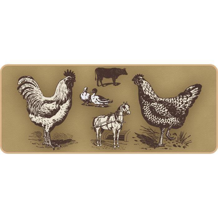 Deco kitchen poules 50x120cm achat vente tapis de for Tapis de cuisine motif poule