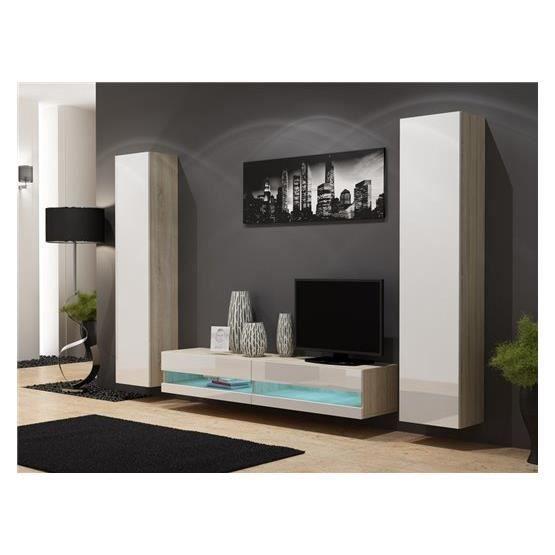 Ensemble meuble tv mural plermo bois et blanc achat for Meuble tv mural bois