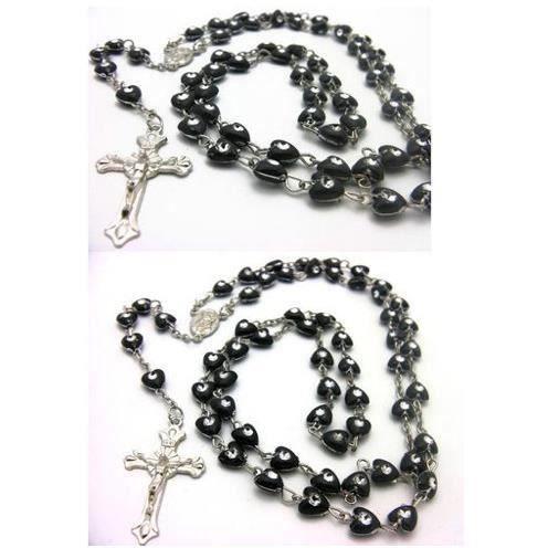 Chapelet collier avec coeur strass noir crucifix achat vente sautoir et collier chapelet for Bureaux adolescente noir et strass