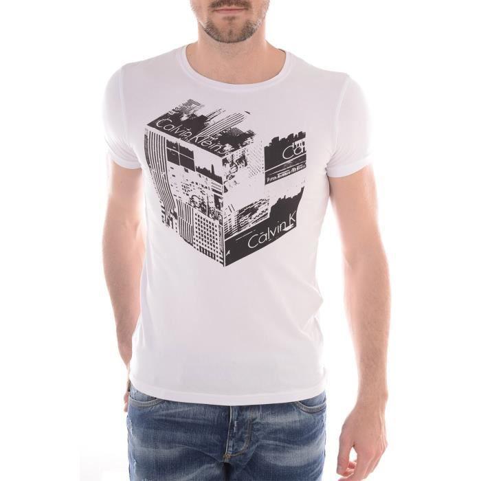 T shirt calvin klein jeans manche courte homme blanc - Tee shirt manche longue calvin klein ...