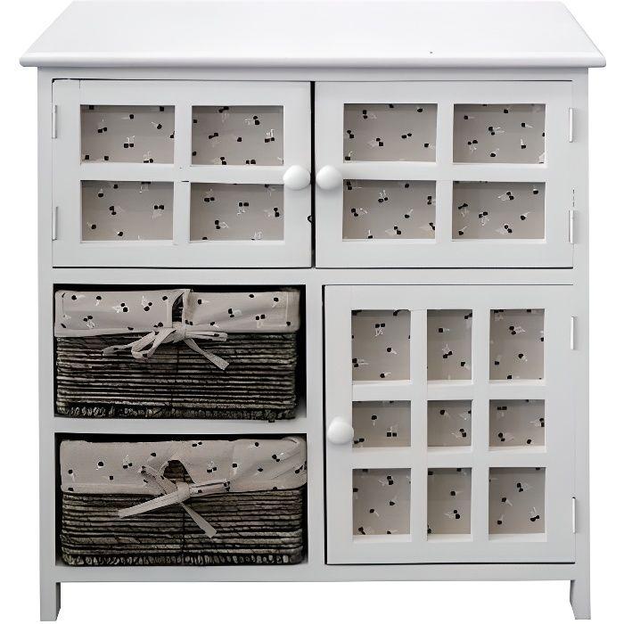 Meuble de rangement armoire 2 tiroir 3 portes bois osier cr me retro cuisine - Cdiscount armoire de rangement ...