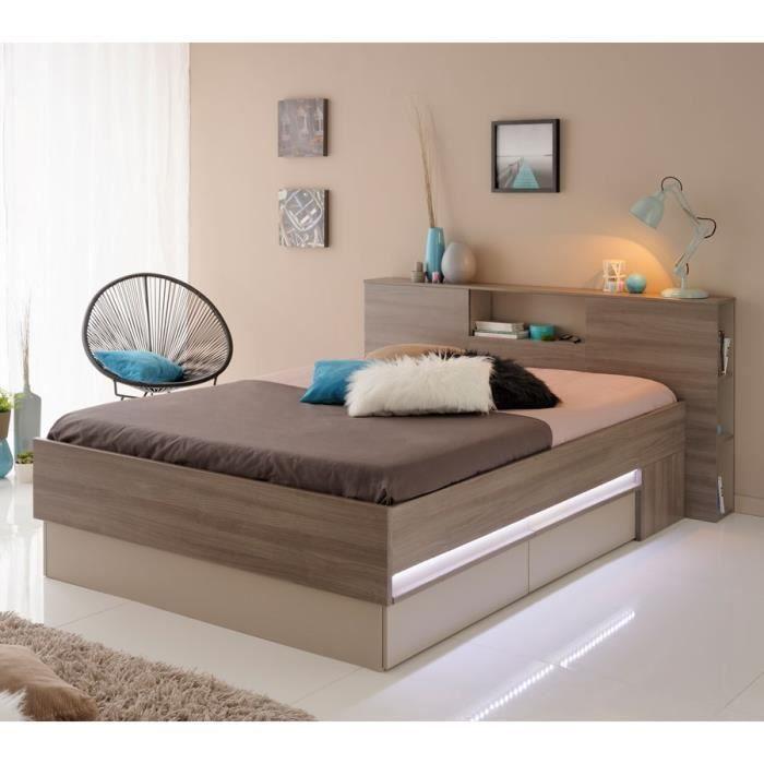 cadre de lit tiroirs leds t te de lit 140 190 citi l 170 x l 214 x h 89 cm achat. Black Bedroom Furniture Sets. Home Design Ideas