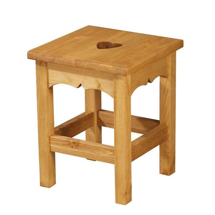 tabouret rustique en pin avec coeur achat vente tabouret tabouret rustique conomique. Black Bedroom Furniture Sets. Home Design Ideas