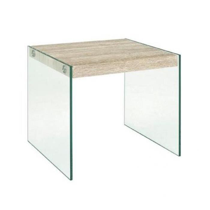 Table basse nina en verre et ch ne clair achat vente - Table basse chene et verre ...