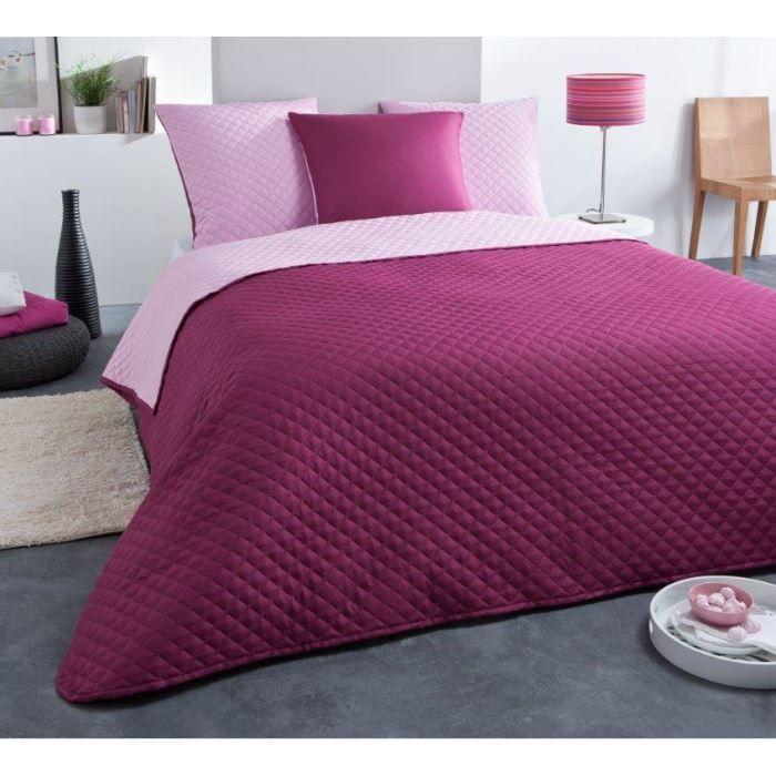 couvre lit boutis uni rose framboise 220x240cm achat vente jet e de lit boutis cdiscount. Black Bedroom Furniture Sets. Home Design Ideas