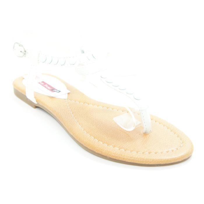 sandale nu pieds sandale clout e avec un noeud co blanc. Black Bedroom Furniture Sets. Home Design Ideas