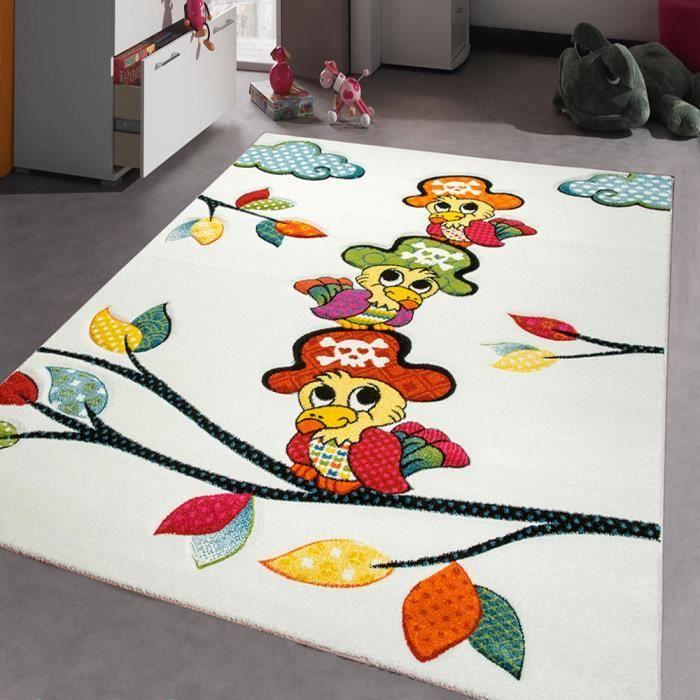 Tapis chambre enfant kids perroquet creme 160x230 par - Tapis chambre enfants ...