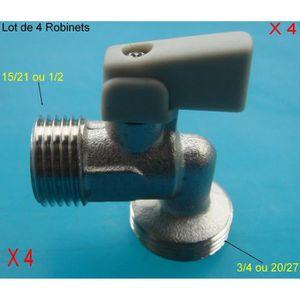 ROBINET DE RÉGULATION Lot de 4 Robinets Arrêt,Machine à Laver,Lave Linge