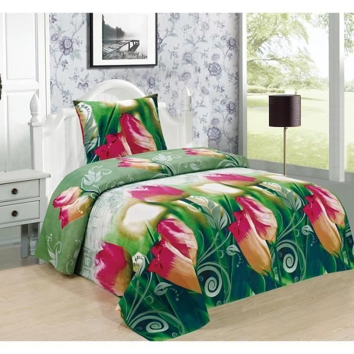 housse de couette imprim en effet 3d 1 places 140 x 200 cm rosier achat vente housse de. Black Bedroom Furniture Sets. Home Design Ideas