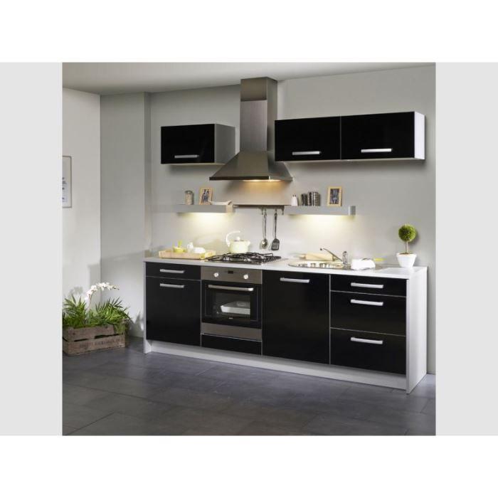 Cuisine compl te 245 cm noire avec casseroliers achat for Achat cuisine complete