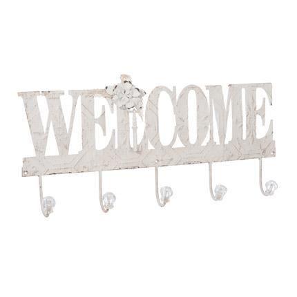 pat re 5 crochets welcome en fer 60cm coloris blanc achat vente porte manteau cdiscount. Black Bedroom Furniture Sets. Home Design Ideas