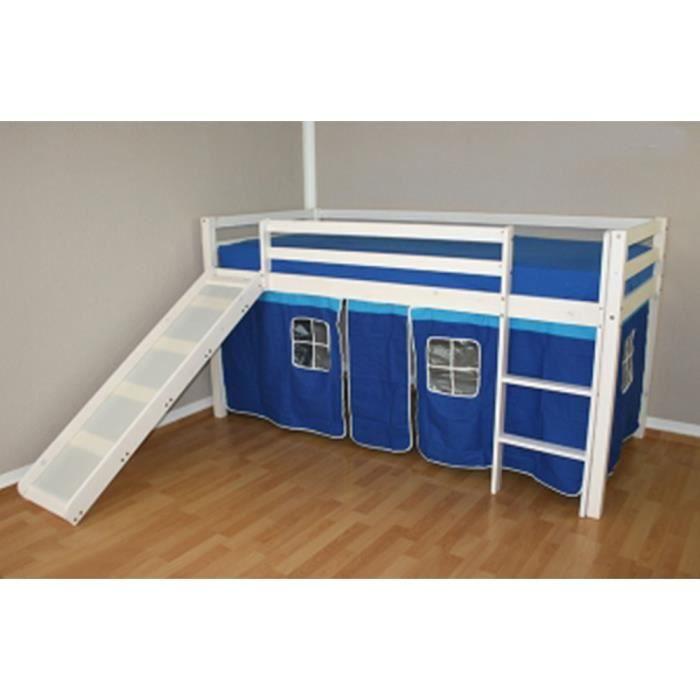 lit enfant superpos en pin massif avec tobogga achat vente lits superpos s soldes. Black Bedroom Furniture Sets. Home Design Ideas