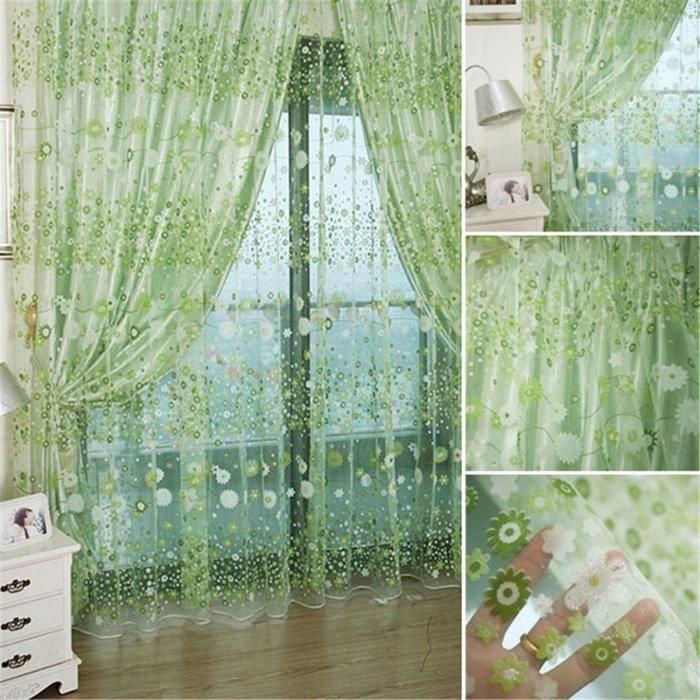 Voilage floral panneau de rideau de porte fen tre tulle for Panneau de fenetre