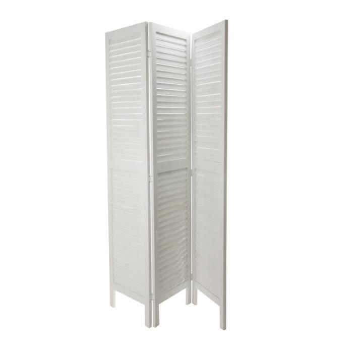 Paravent bois 170x40cm blanc paris prix achat vente - Paravent exterieur bois ...