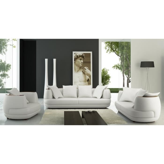 ensemble canap 3 2 1 places en cuir blanc ryga achat vente canap sofa divan cdiscount. Black Bedroom Furniture Sets. Home Design Ideas