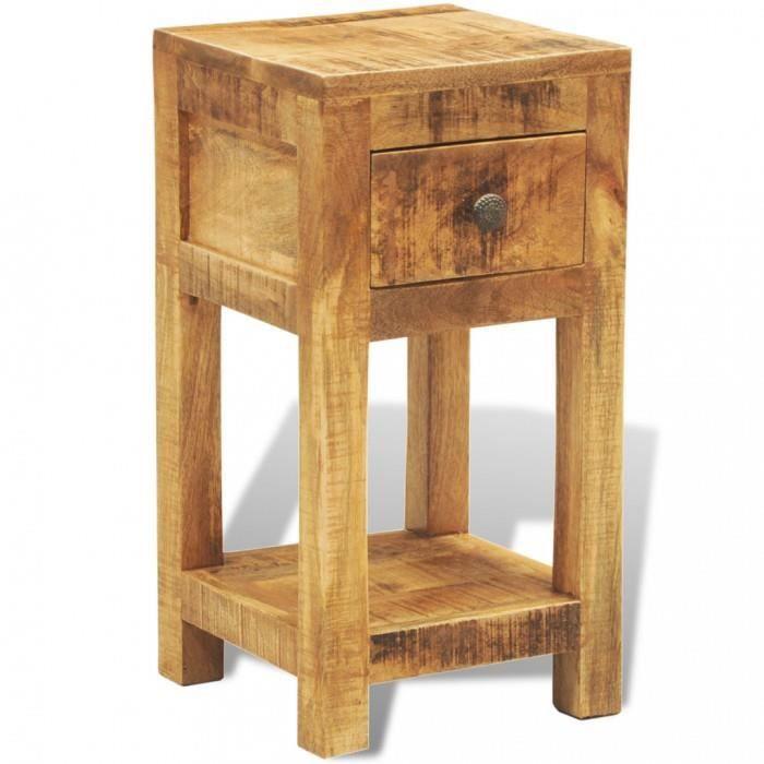 Tables table d 39 appoint 1 tiroir en bois massif achat - Table d appoint en bois ...