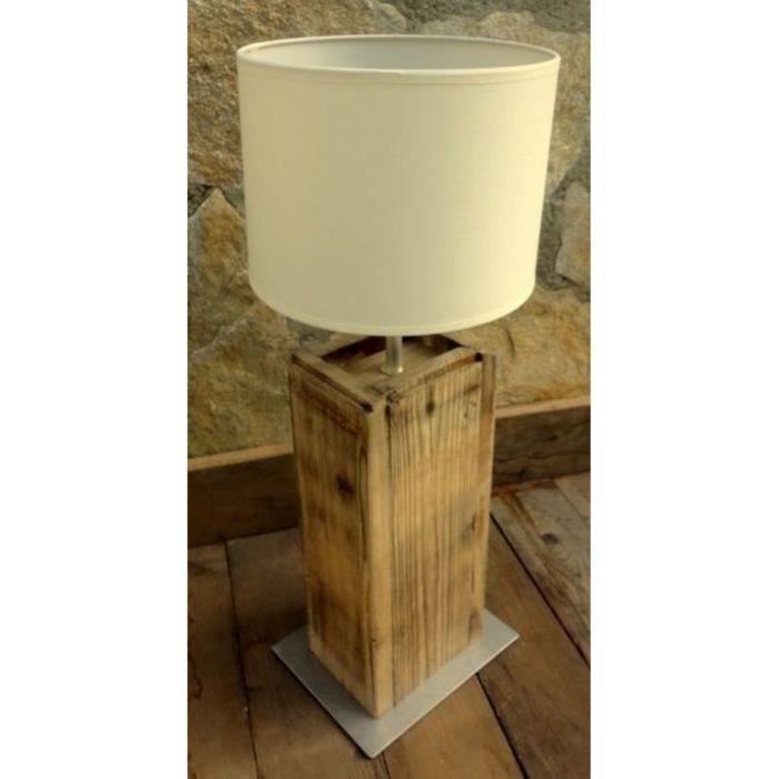 Lampe de table en vieux bois 60w boutica design achat for Lampe en bois artisanale