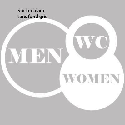 Stickers de d coration toilettes pour porte 30 x 23 cm for Stickers porte blanc
