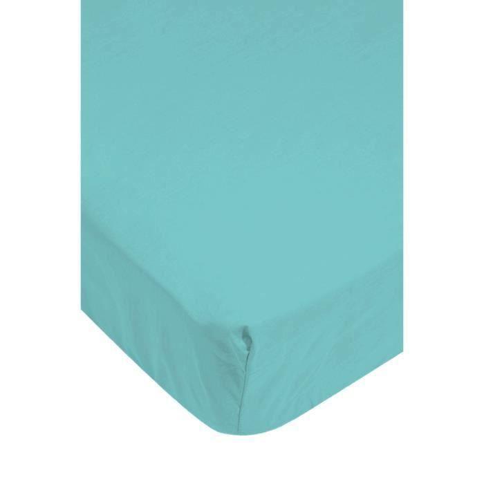 Drap housse 160 x 200 couleur bleu ciel 100 coton 57 fils - Drap housse 70 x 160 ...