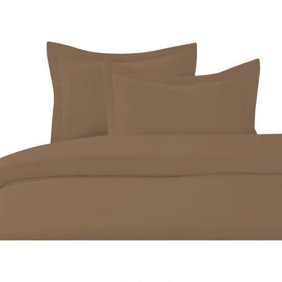 cdublanc housse de couette 220x240cm taupe 2 taies d. Black Bedroom Furniture Sets. Home Design Ideas