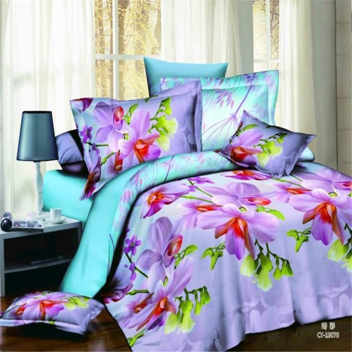 l m frais fleurs motif parure de couette parure de lit 1 housse de couet. Black Bedroom Furniture Sets. Home Design Ideas