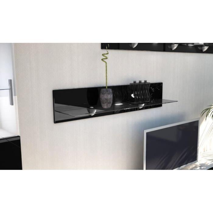 Etag re laqu e noir en bois et verre 98 cm avec led achat vente etag re m - Etagere murale noire laquee ...