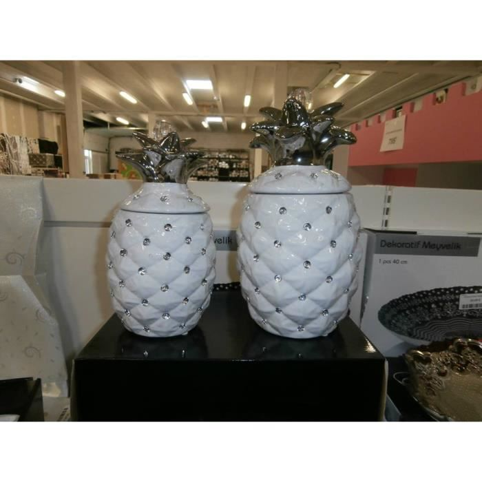 Pots ananas strass les 2 pcs blanc achat vente for Objet deco ananas