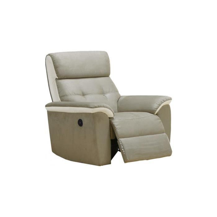 Fauteuil relax lectrique antonia microfibre gris cuir blanc achat vente - Fauteuil relax blanc ...