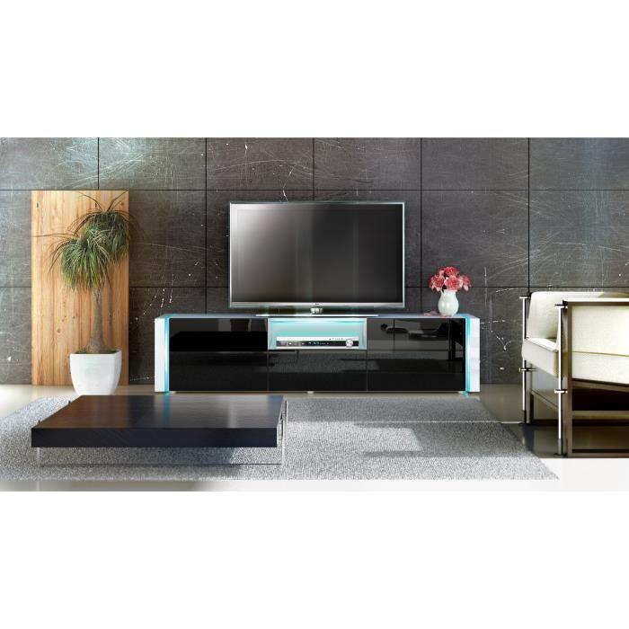Meuble t l blanc et noir 157cm achat vente meuble tv for Meuble tele noir et blanc