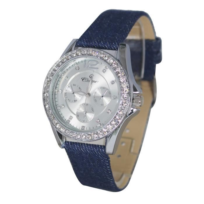 montre femme strass bracelet tissus jean tendance et fashion tendance achat vente montre. Black Bedroom Furniture Sets. Home Design Ideas
