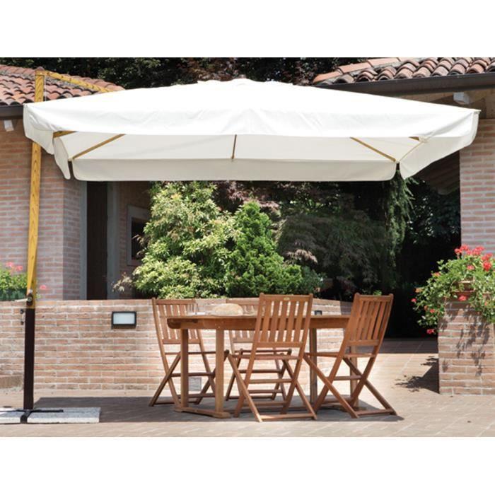 parasol d port carr 3 x 3 m mat coloris bois m t. Black Bedroom Furniture Sets. Home Design Ideas