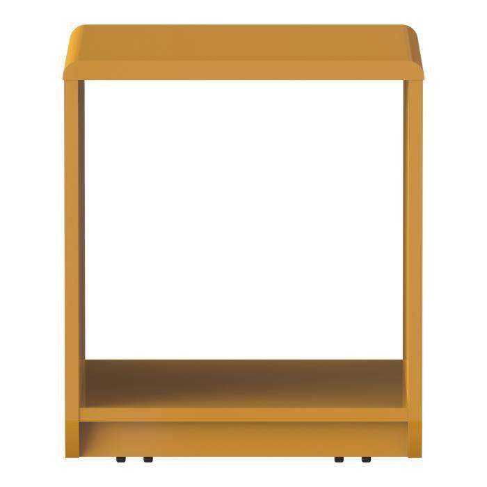 Look table de chevet roulettes jaune laqu en forme de cube achat vente chevet look table - Table de chevet jaune ...