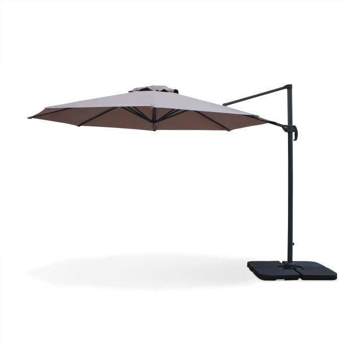 Biscarosse parasol d port rond 350cm taupe achat vente parasol parasol - Parasol deporte soldes ...