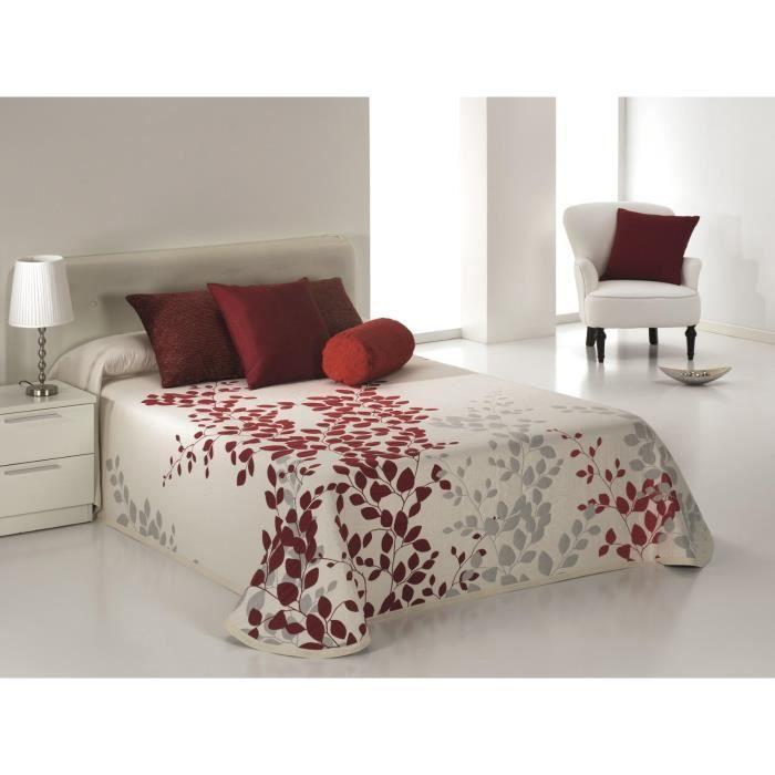 couvre lit 235x270 cm tiss jacquard geisha rouge pour lit de 140x190 cm fabriqu en espagne c. Black Bedroom Furniture Sets. Home Design Ideas