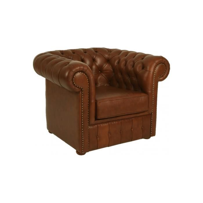 Fauteuil club chesterfield cuir capitonn ch taigne achat vente fauteuil - Fauteuil chesterfield cuir occasion ...