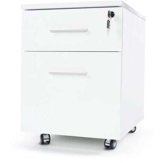 Caisson de bureau 2 tiroirs en bois laqu blanc achat vente caisson de - Caisson bureau blanc laque ...