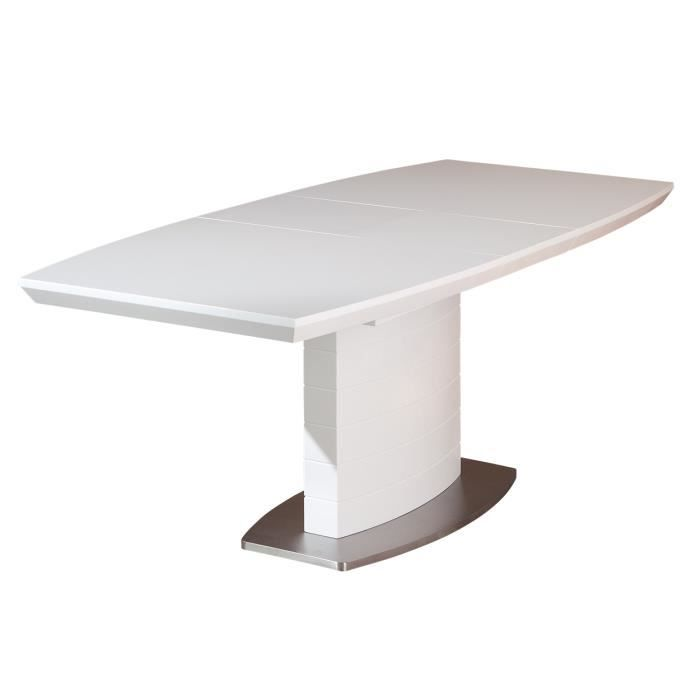 Table de salle manger rallonge coloris blanc achat for Xooon table salle a manger