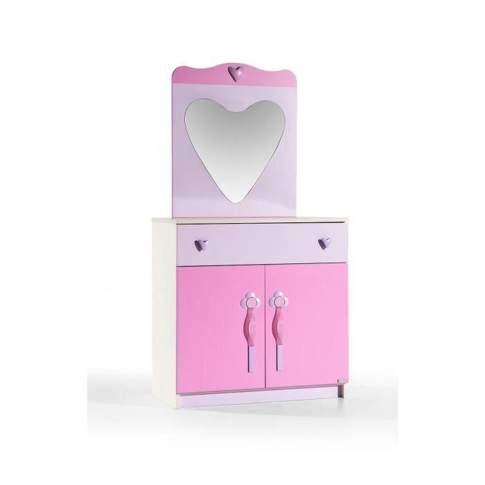 commode pour enfant avec miroir coloris rose achat. Black Bedroom Furniture Sets. Home Design Ideas
