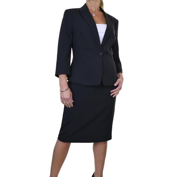 ice 6472 1 tailleur jupe crayon de bureau enti rement doubl noir noir achat vente costume. Black Bedroom Furniture Sets. Home Design Ideas