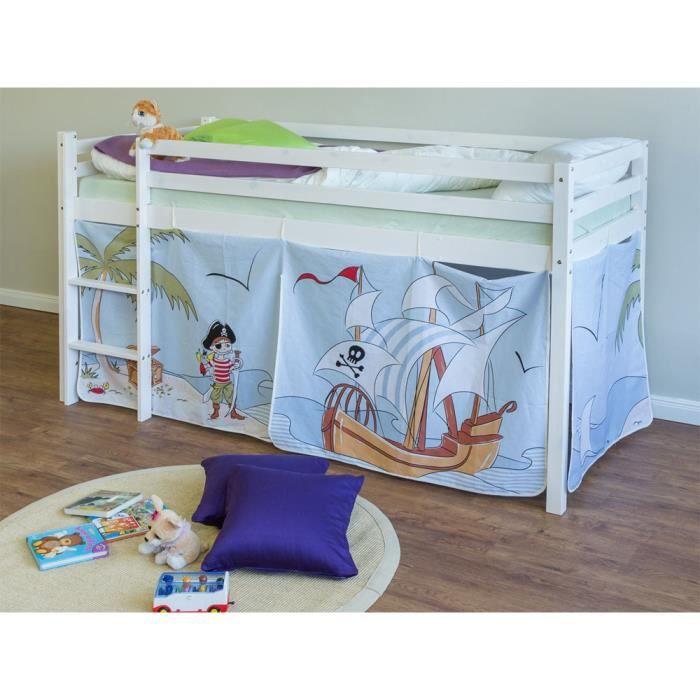 lit enfant superpos en pin massif avec chelle motif pirate achat vente lits superpos s lit. Black Bedroom Furniture Sets. Home Design Ideas
