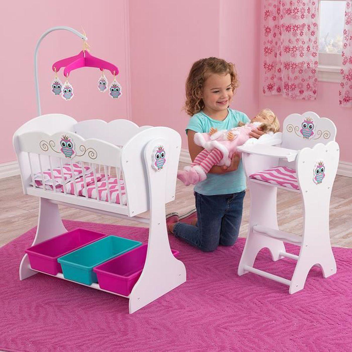 ensemble chaise haute et berceau en bois pour poup e poupon achat vente nurserie cdiscount. Black Bedroom Furniture Sets. Home Design Ideas