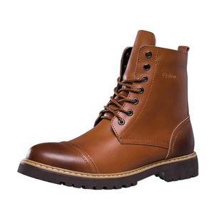 BOTTINE Mode Bottine à Lacet Boots en Cuir Homme Chauss...