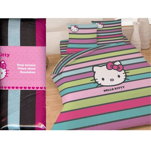 Drap housse hello kitty fancy 2 places achat vente - Drap housse 70x140 hello kitty ...