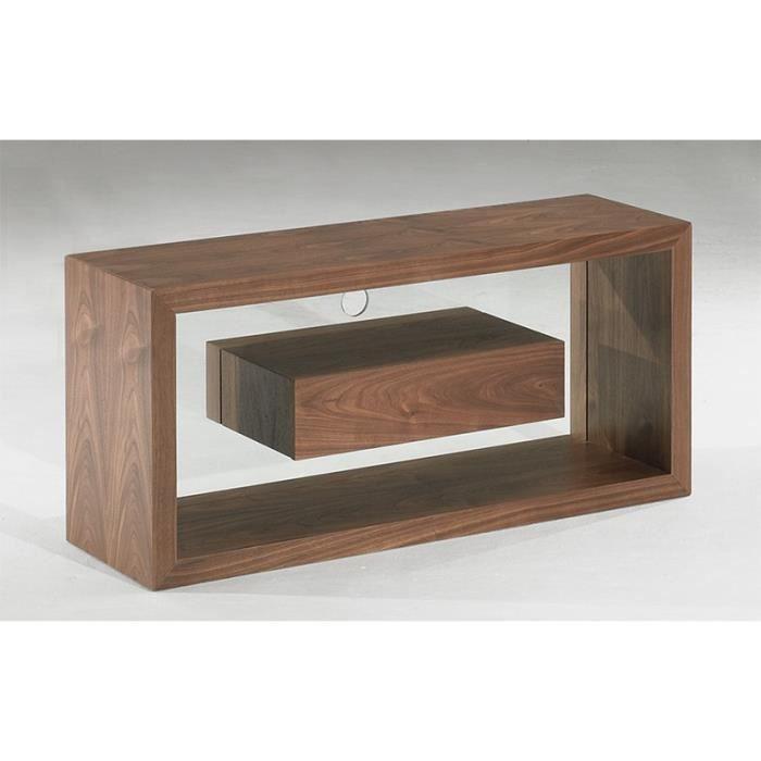 meuble tv delta 1 tiroir plaquage noyer 120cm achat. Black Bedroom Furniture Sets. Home Design Ideas