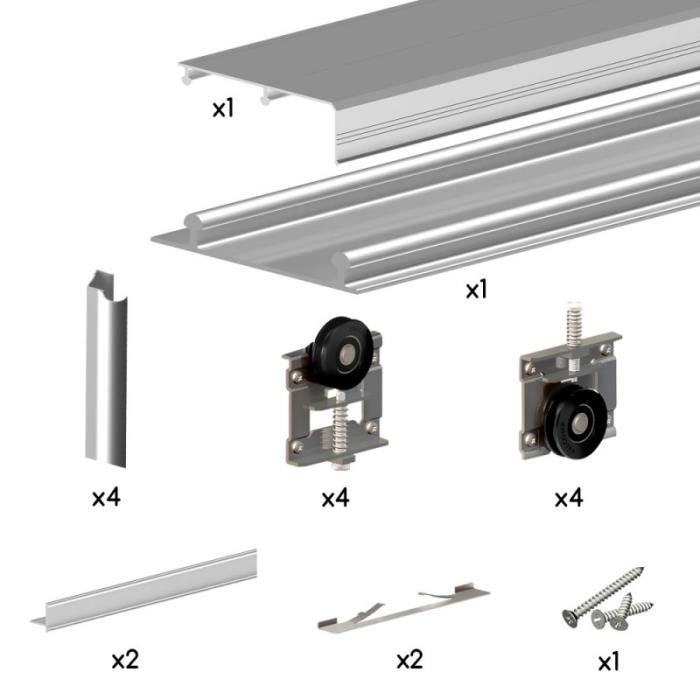 Kit ares3 aluminium anodis naturel pour 2 portes de placard coulissantes 19 - Kit pour porte pliante ...