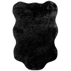 tapis imitation fourrure forme peau de b te noir achat vente tapis soldes d hiver d s. Black Bedroom Furniture Sets. Home Design Ideas