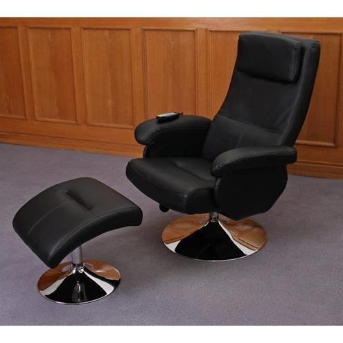 Fauteuil relaxation massage cuir noir achat vente fauteuil cuir simili - Fauteuil relaxant cuir ...