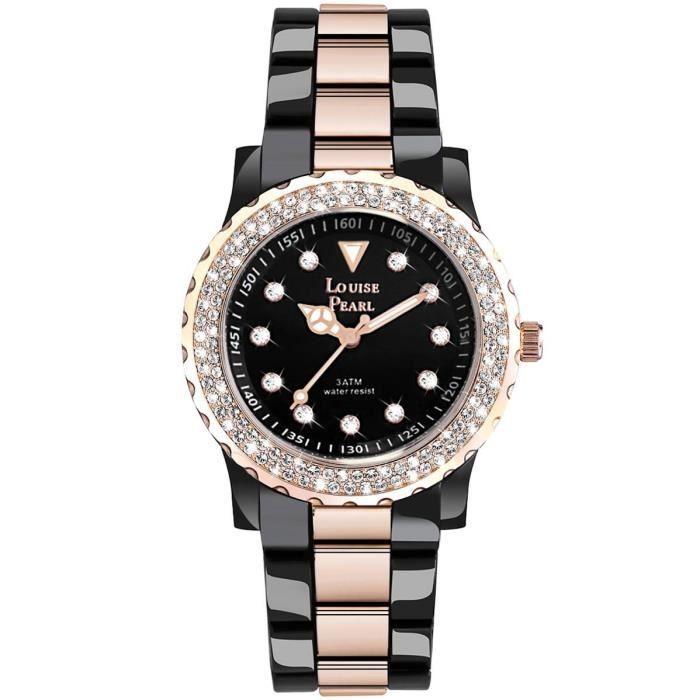 jolie montre femme et 131 cristaux swarovski noir ros louise pearl 3 achat vente montre. Black Bedroom Furniture Sets. Home Design Ideas