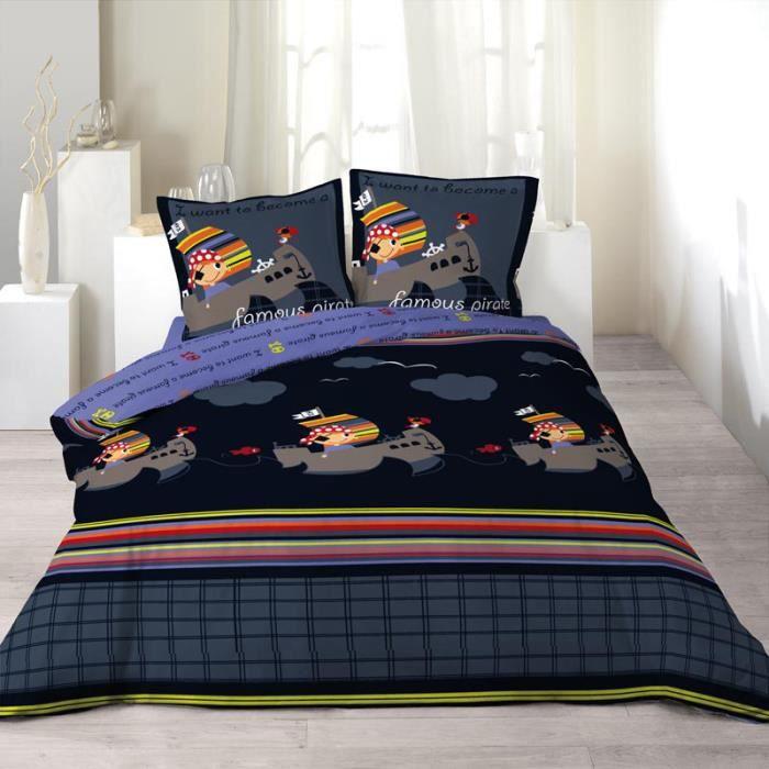 parure de couette 100 coton 200x200 corsaire achat vente parure de couette cdiscount. Black Bedroom Furniture Sets. Home Design Ideas