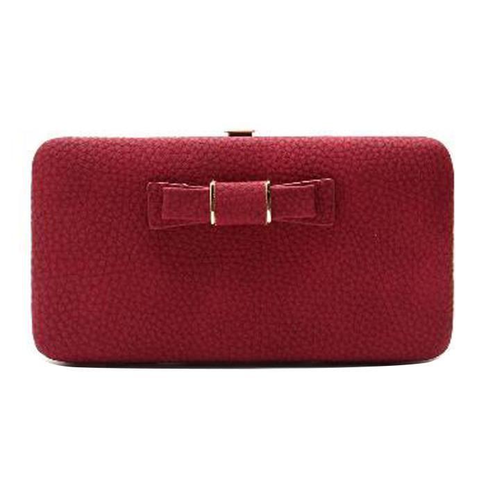 mode portefeuille porte ch quier porte monnaie smartphone femme en cuir pu n ud rouge achat. Black Bedroom Furniture Sets. Home Design Ideas